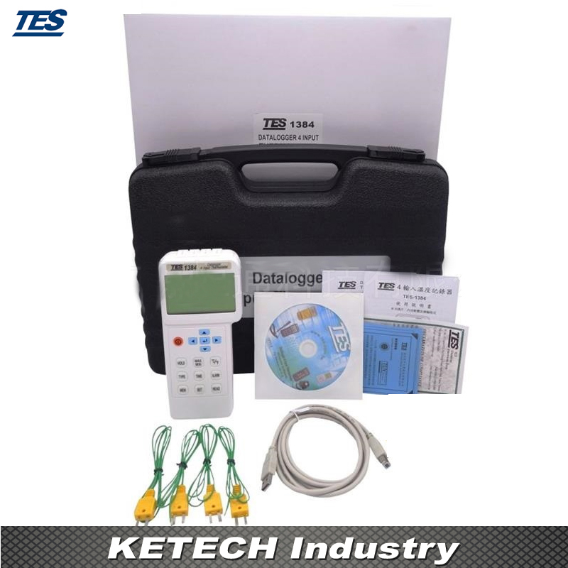USB 4 Inputs Industrial Datalogger Thermometer TES-1384
