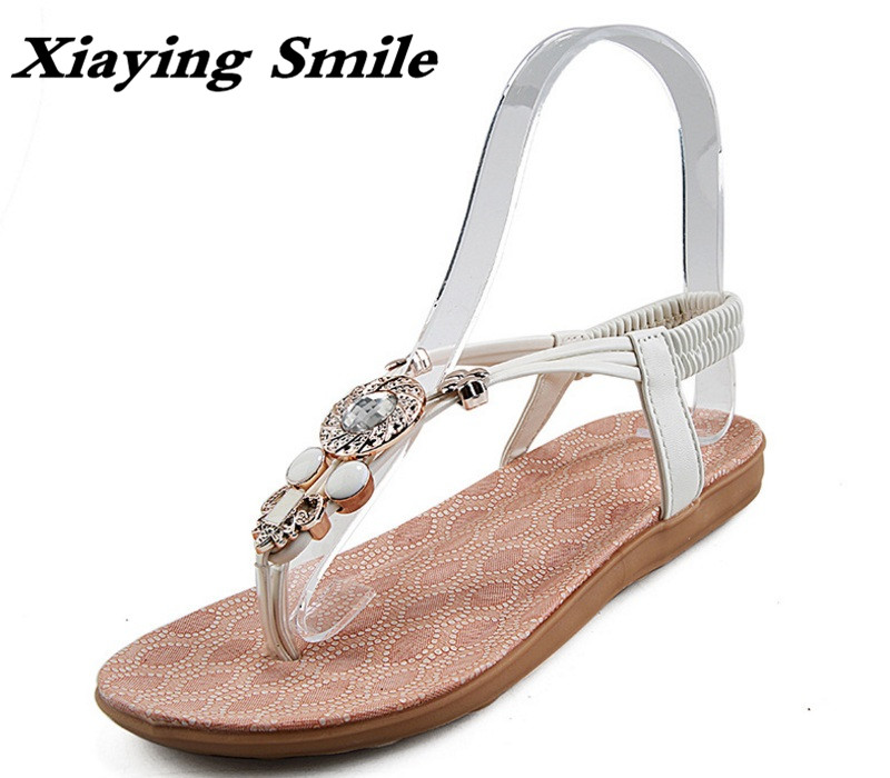 Xiaying Smile Summer New Women Sandals Casual Fashion Shoes Beach Bohemian Style Flats Bling Crystal Slip On String Bead Shoes xiaying smile summer woman sandals platform wedges women pumps buckle strap fashion casual flock lady bling crystal women shoes