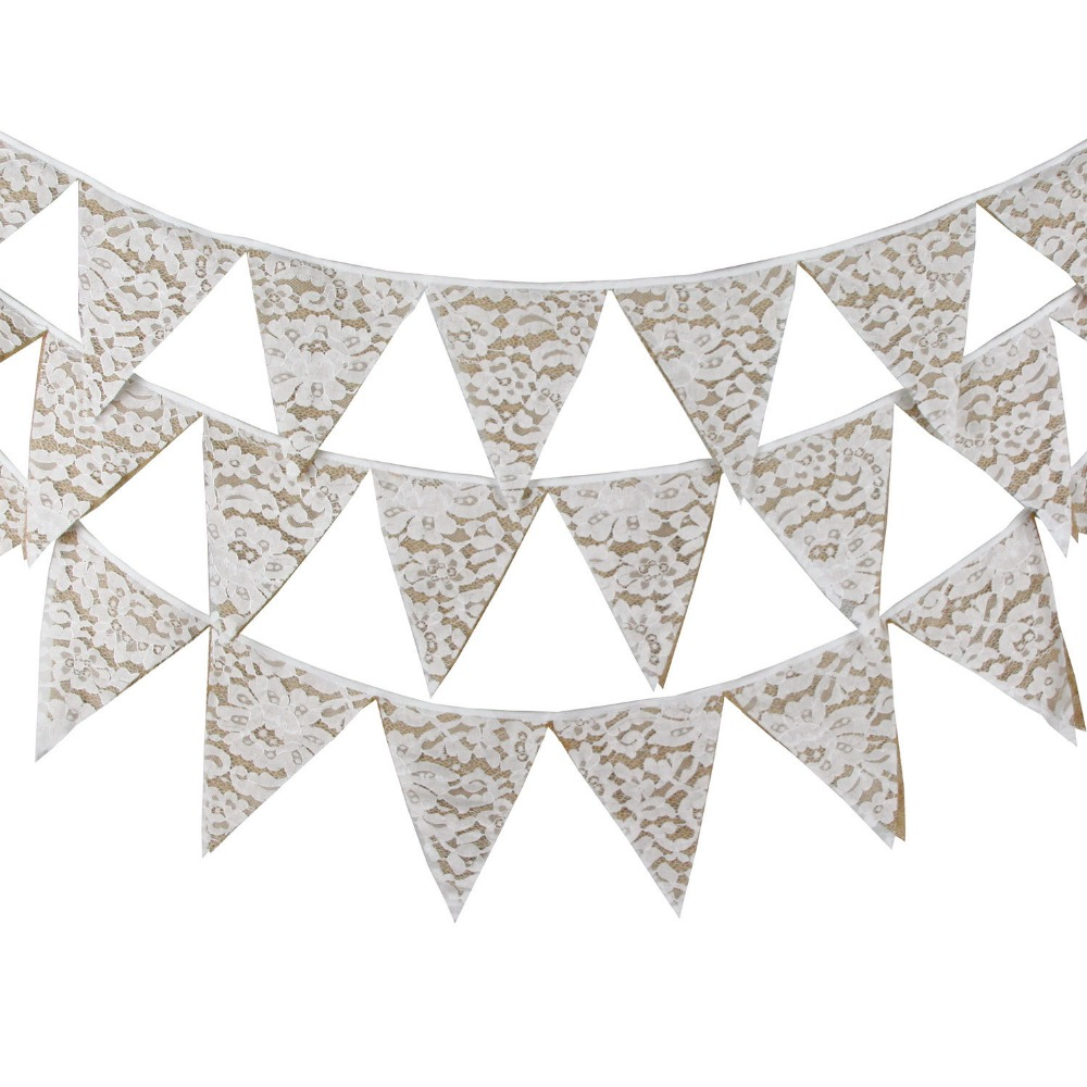 Burlap /& Lace Grey Wedding Day Married Bunting Garland Party Banner