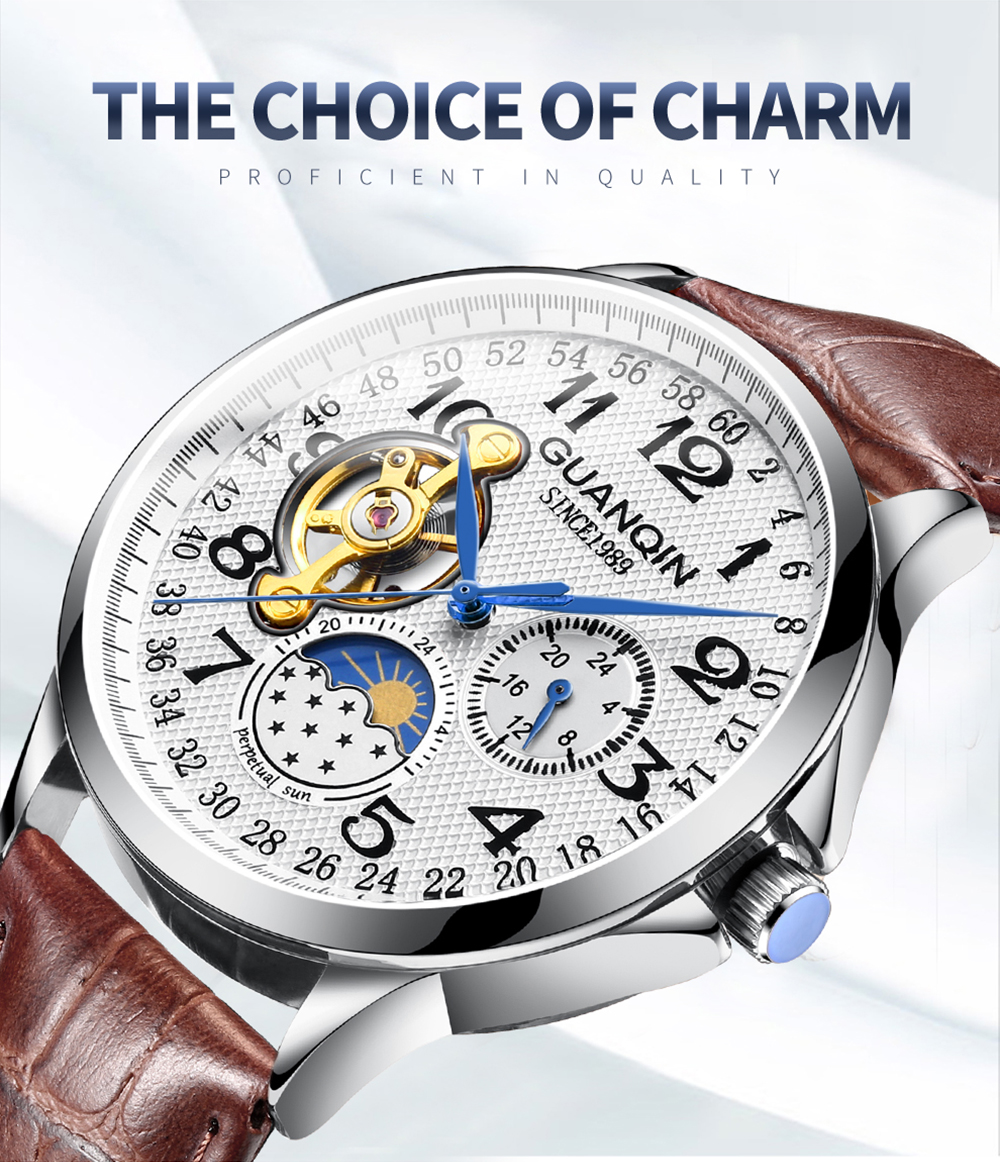 HTB1Xjb1XMKG3KVjSZFLq6yMvXXaj GUANQIN mechanical watch men waterproof automatic skeleton tourbillon clock men business top brand luxury Relogio Masculino