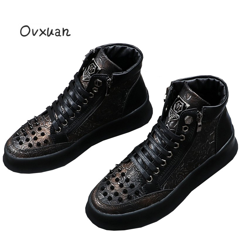 Ovxuan Black Printed Leather Metal Sheet High Men Boots Ankle Shoes Vintage Rivets Toe Casual Party Men's Dress Shoes Man Flats ovxuan metal skull buckle handmade men ankle shoes punk party dress loafers glitter bright sequins men flats casual rivets shoes