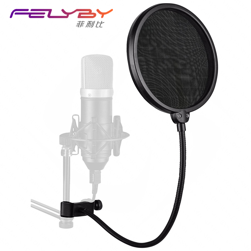 BM 800 Mic Microphone Pop Filter Shield Filter Mask Studio Microphone Mic Wrinkles Pop Professional Mic Metal Studio Pop Filter