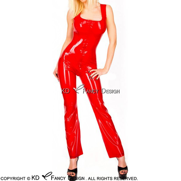 Red Sexy Sleeveless Latex Catsuit With Front Zip Rubber JumpLsuit Body Suit Catsuit Bodysuit Zentai Overall LTY-0058