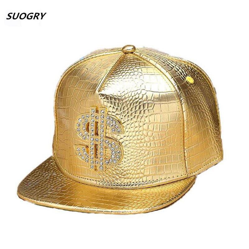 Faux Leather Baseball Caps Gold Dollar $ Logo With Bling Hiphop Gorras Snapback Hat Adjustable Fashion Cool Casquette For Unisex