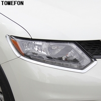 For Nissan X-Trail X Trail Rogue T32 2014 2015 2016 Headlights Eyebrow Cover Front Lights Trim ABS Chrome Car Styling