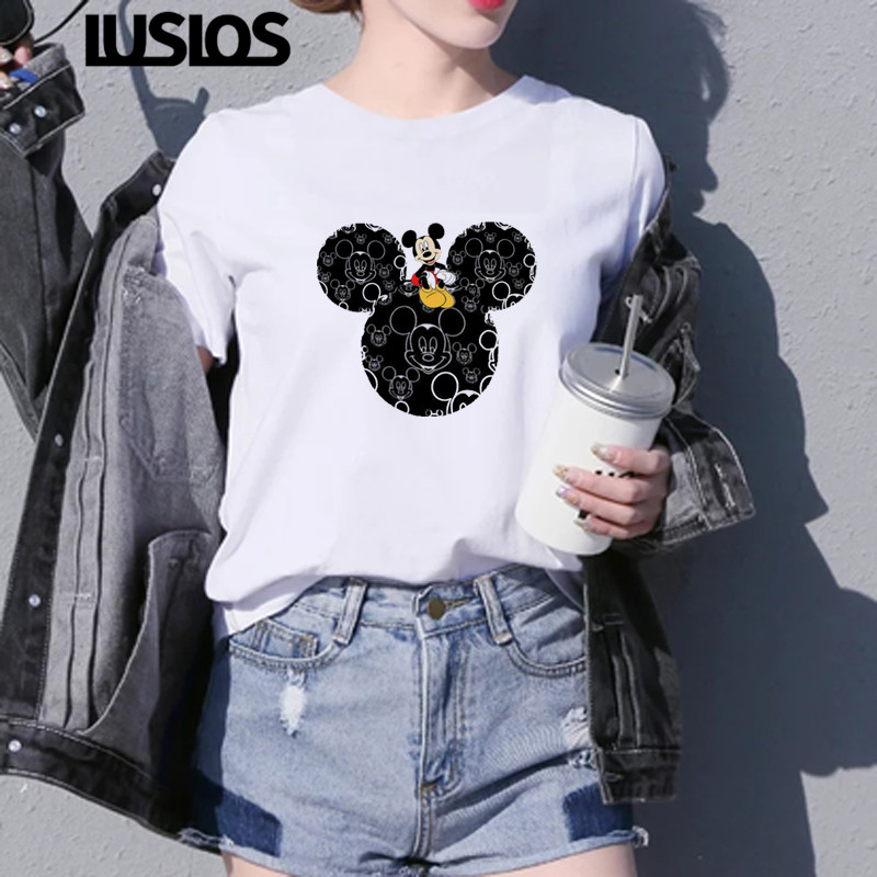 Luslos T Shirt Women Summer Super Lovely Minnie Mouse Cartoon Graphic Tees Female Vogue Cotton Tops Vintage Streetwear T-Shirts