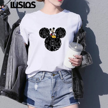 Luslos T shirt Women Summer Super Lovely Minnie Mouse Cartoon Graphic Tees Femal
