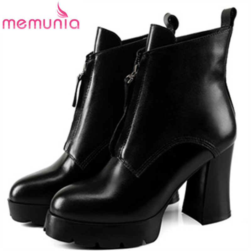 MEMUNIA  2018 Spring autumn boots female platform shoes woman genuine leather boots high heels shoes ankle boots big size 34-40 new sexy spring autumn big button decoration spring autumn women shoes black high heels boots platform ankle boots size 34 40