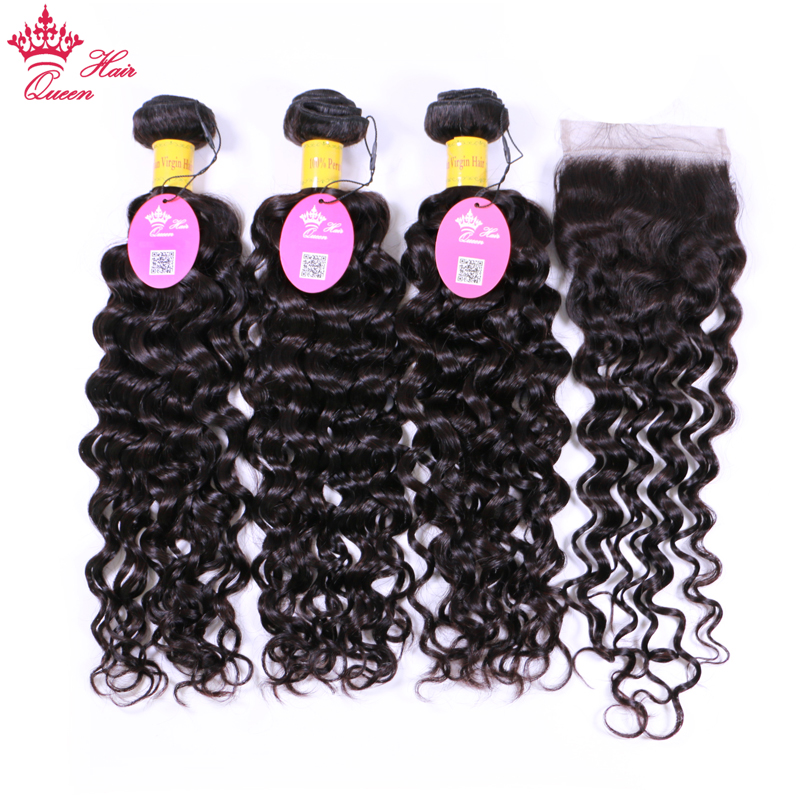 Queen Hair Water Wave Hair Bundles with Closure 100 Virgin Human Hair Bundles with Lace Closure