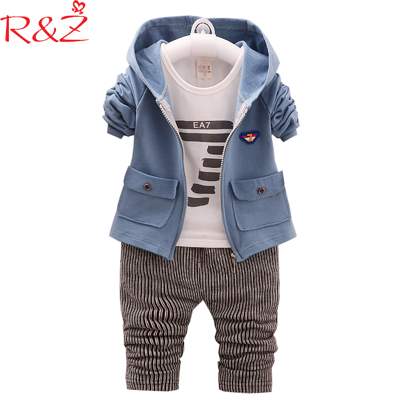 R&Z Baby Boy Sets 2018 New Spring Cotton Number Printing Longsleeve T-shirts+coats+pants 3pcs Suits for Kids Children's Clothing new brand 2pcs ofcs baby boy sets cotton spring