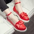 Южная корея сладкий стиль удобные круглым носком туфли на высоком каблуке мода бантом пряжки ремня черный белый розовый желтый низком каблуке женская обувь