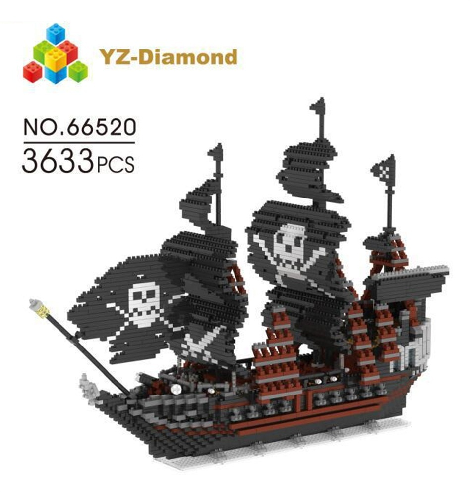 YZ Diamond Blocks 3D Pirate Ship Model DIY Building Bricks Plastic Corsair Boat Auction Figure Juguetes Toys Boy Gift 66520 cl fun new pirate ship imperial warships model building kits block briks boy toys gift 1717pcs compatible 10210