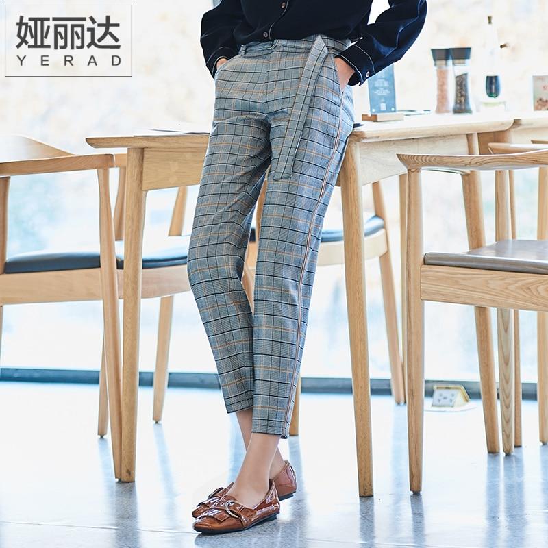 YERAD 2019 Spring New Women Grid Pants Casual Loose Pencil Pants Linen Plaid Capris Ankle Length Straight Trousers