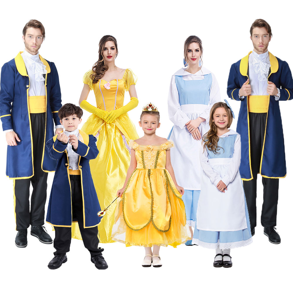 Umorden Halloween Beauty and Beast Costumes Family Women Girl Princess Belle Maid Cosplay Dress Men Boy Prince Costume Suit