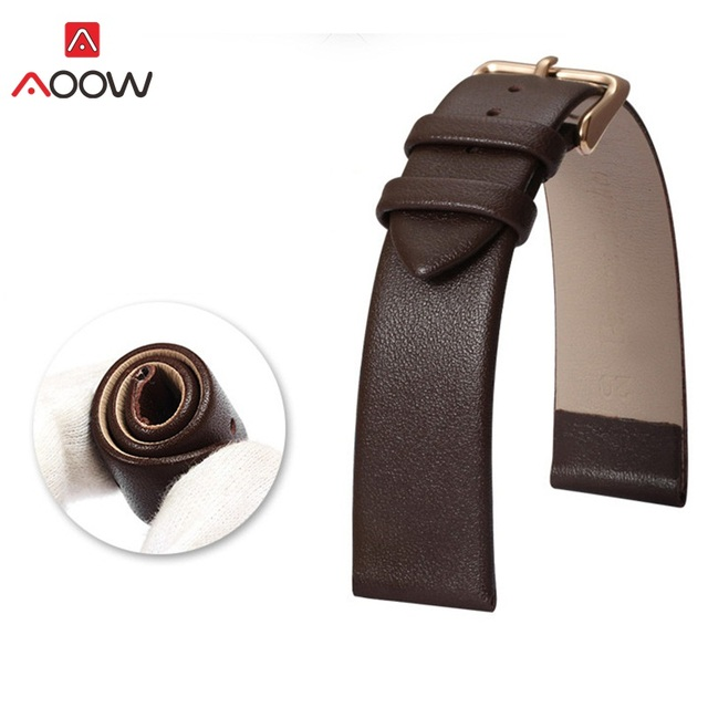 AOOW Universal Leather Watchband for Men Women Soft Fashion Replacement Bracelet