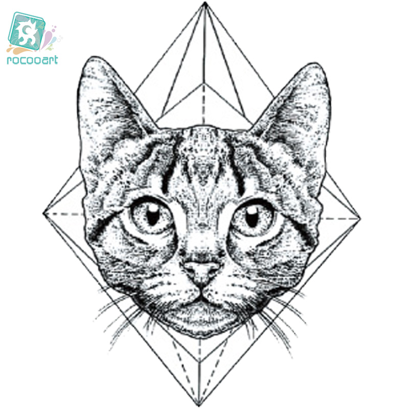 Rocooart CC6316 6X6cm Little Vintage Old School Style Kidded Cat Head Temporary Tattoo Sticker Body Art Water Transfer Fake Taty
