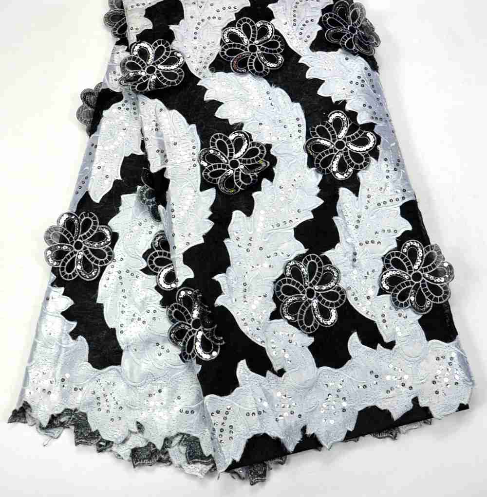 Latest 100% Classic high quality Excellent Black white 3D Flowers French Net wedding lace for Luxury Nigeria Wedding