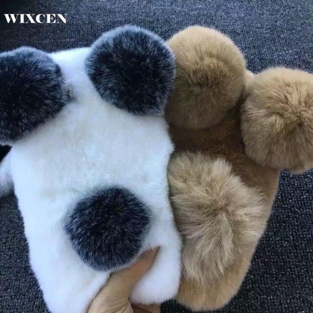 imágenes para Wixcen Conejo de Piel de Lujo Caso de la panda Para el iphone 6 6 s 6 Más 5 5S 7 7 más caso de la Historieta Linda caliente mullido Pelo de felpa Cubierta de la caja
