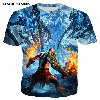 Kratos 3D T shirt Men God of War print Short Sleeve fashion tshirt summer t shirts men/boy homme Camisetas plsus size S-5XL