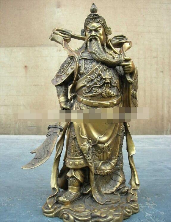 00006 beautifull brass carved dragon Guan Gong warrior statue B0403