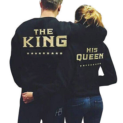 The King and His Queen Love Matching Men Women Sweatshirts Couple Hoodies Tops