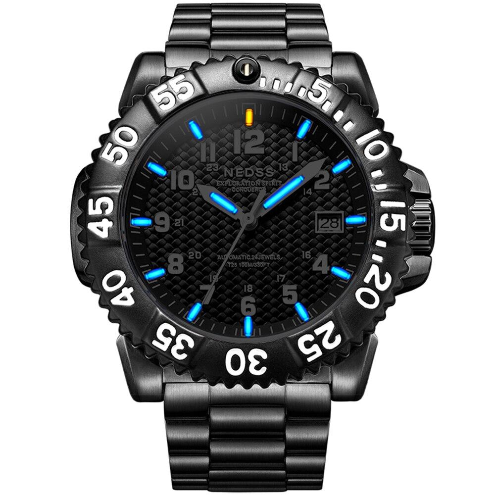 Luxury brand NEDSS Men Military watch Tritium Mechanical watches seiko automatic movement sapphire 100m ATM Mechanische Uhren