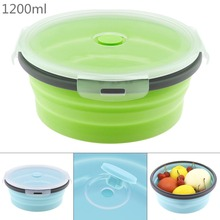 1200ML Silicone Folding Lunch-Box Round Bento Storange Box Portable Food Container Bowl For Dinnerware