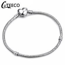 9dd379d7a7a4 CUTEECO nueva forma de corazón de plata de los encantos de las mujeres  pulsera DIY hecho a mano joyería de imitación Pandora pul.