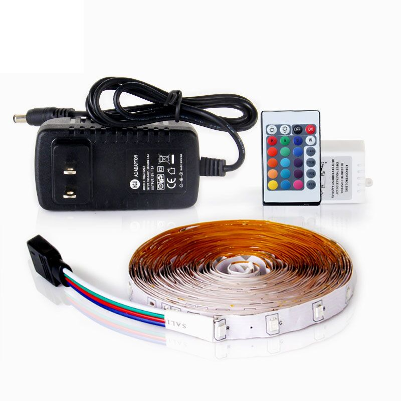 RGB LED Strip Light 5M SMD2835 Flexible Fita Led with Remote Controller 12V 2A Power Supply Ribbon Light for Home Decoration led strip kit led strip light 3528 smd 20m 1200leds dc12v flexible led ribbon diode tape forrf touch remote 78w power supply