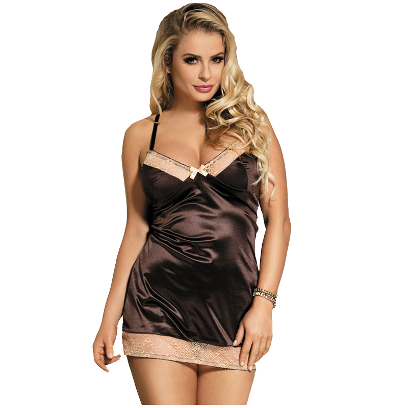 Hot Women Plus Size Night Dress Nightgown Sexy Nightwear Nightdress Women  Sheer Satin Nightwear Sleepwear Chemises-in Nightgowns   Sleepshirts from  ... 9e1bd6b65