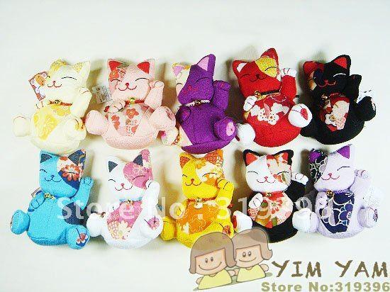 Free Shipping Wholesale Japanese Kimono Fabric Lucky Cat Toy
