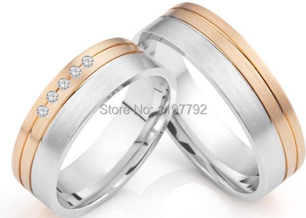 Taille personnalisée de luxe designer rose or couleur titanium anneaux de mariage de style britannique