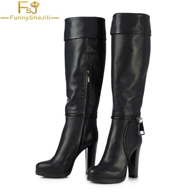 1a59468f59c FSJ Winter Boots Women Platform Knee High Heel Chunky Black Sexy Women Shoes  Long Boots Black
