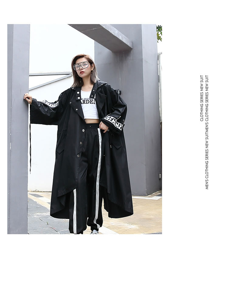 XITAO Spliced Plus Size Black Trench For Women Tide Long Print Streetwear Hoodie Casual Female Wide Waisted Coat 19 ZLL1100 5
