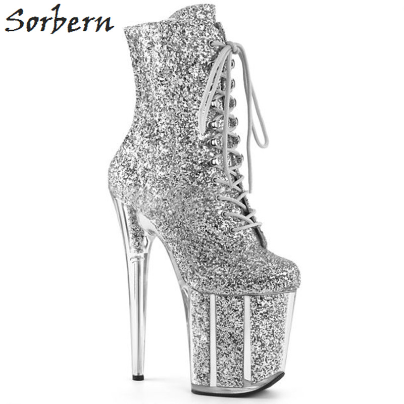 Sorbern Sexy Glitter Extreme High Heel Ankle Boots Women Exotic Heels Pole Dance Boot Females Side Zipper Shoe Lady Multi ColorsSorbern Sexy Glitter Extreme High Heel Ankle Boots Women Exotic Heels Pole Dance Boot Females Side Zipper Shoe Lady Multi Colors
