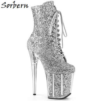 Sorbern Sexy Glitter Extreme High Heel Ankle Boots Women Exotic Heels Pole Dance Boot Females Side Zipper Shoe Lady Multi Colors - DISCOUNT ITEM  30% OFF All Category