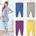New Pregnant Women Elastic Capris Pants Solid Pleated Cotton Maternity Leggings Clothes