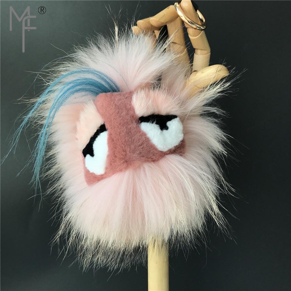 2012d7a7da Magicfur 100% Real Fox mink Fur Monster Pom Ball Rubber Pink Fur Bag Bugs  Charm Fashion Keychain Handbag Keyring Pendant -in Key Chains from Jewelry  ...