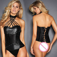 Women Gothic Clothing Steampunk Corset Sexy Erotic Lingerie Faux Leather Halter Steel Boned Espartilho Burlesque Night Clubwear