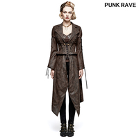 PUNK female Casual Steam removable long jacket Gothic Rock Cosplay Tied rope and Chain horn sleeves Jackets PUNK RAVE Y 731