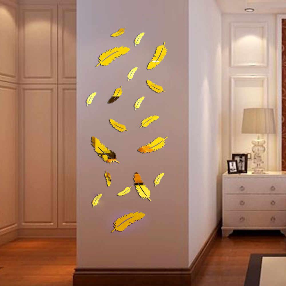 Ishowtienda 1 PC Stiker Kaca Dinding Bulu Gaya Cermin Jam Dinding Dapat Dilepas Decal Seni Stiker Dinding Dekorasi Rumah