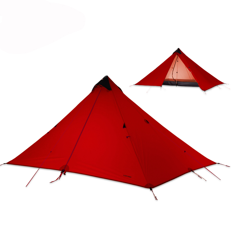 FLAME'S CREED 15D Silicone Coating Rodless Double Layers Pyramid Tent Single 1.5 Person Waterproof Ultralight Camping 3 Season - 2