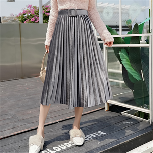Pleated Skirt Women Elegant OL Metallic Silver Pleated Skirts Womens High Waist Elastic Midi Skirt Woman High Waist Skirts Falda