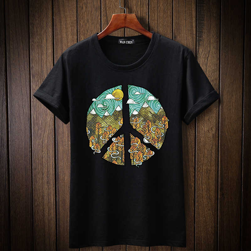 2019 Nieuwe Mode Circulaire patroon tshirt Gedrukt Mannen t-shirt Korte Mouw Casual t-shirt Hipster Fractal Patroon tees Cool Tops