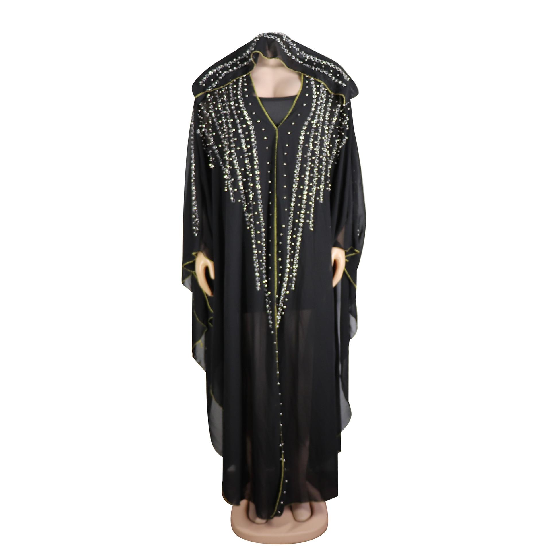 African Dresses For Women Beading Robes Long Maxi Dresses Fashion Plus Size Chiffon Dress Hooded Black Abaya Batwing Vestidos 7