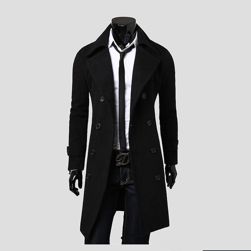 Luxury Mens Trench Coat 2018 New Fashion Designer Men Long Coat Autumn Winter Double-breasted Windproof Slim Trench Coat Men 3xl