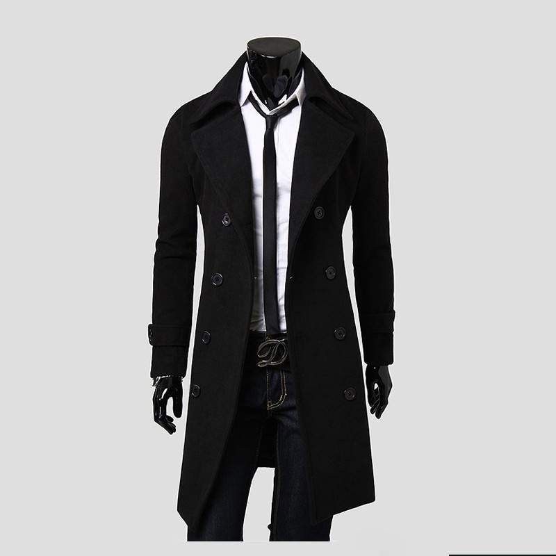 Luxury Mens   Trench   Coat 2018 New Fashion Designer Men Long Coat Autumn Winter Double-breasted Windproof Slim   Trench   Coat Men 3xl