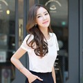 Moda Verano Mujer de Encaje Blusa Tops Camisa Blanca Camisa de Gasa Manga Corta Blusa Feminina Femme Hueco Camisa Blusa Superior Tallas grandes