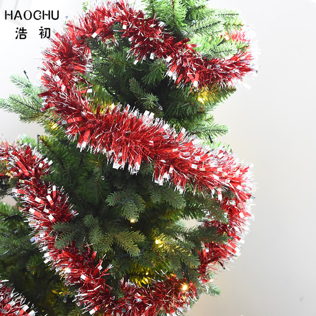 Us 7 8 Haochu 2pcs Lot New Year Market Hanging Colorful Christmas Tree Ribbon Silver Edge Tops Garland Wedding Stage Props Supplies In Pendant