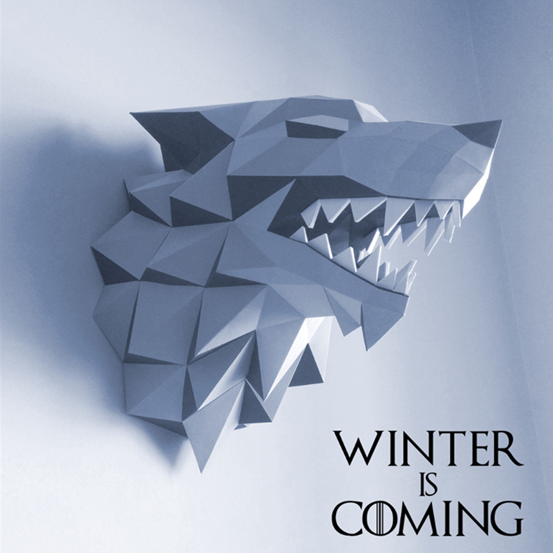 3D Paper Model Game Of Thrones Star Wolf Papercraft Home Decor Wall Decoration Puzzles Educational DIY Kids Toys Birthday Gift